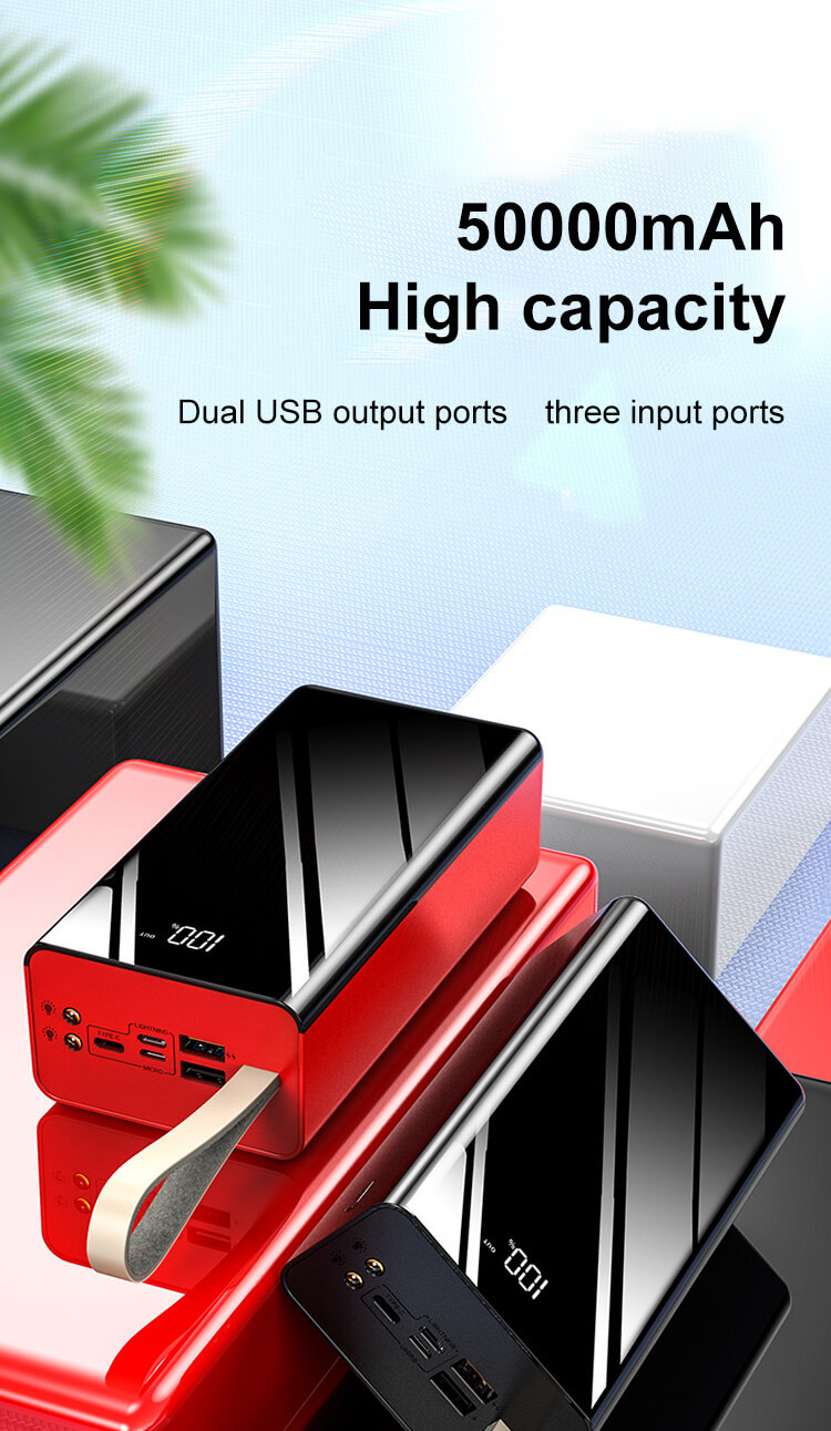 3 Input ports 2 USB Output Ports 2.1A Rapid Charge 50000mAh High Capacity Power Banks