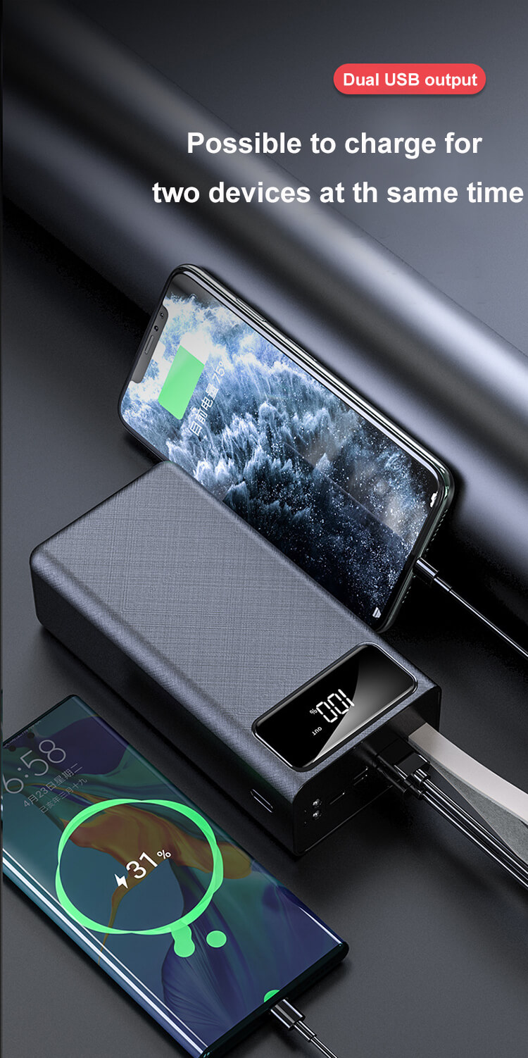Fast Charger Lanyard Mobile Power Banks 50000mAh High Capacity Portable Charger With LED Flashight
