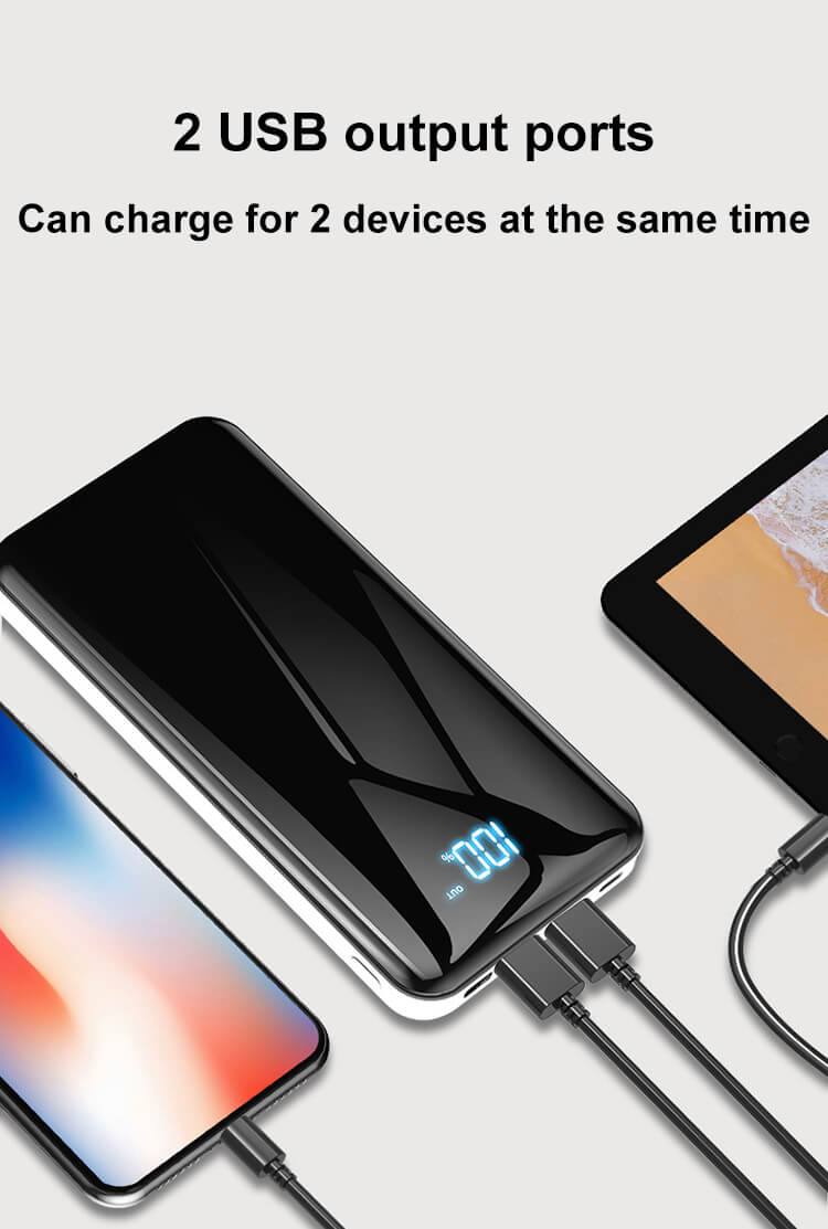 3 Input Ports 2 USB Output Ports 2A Fast Charge LED Digital Display 20000mAh Power Banks Portable Chargers