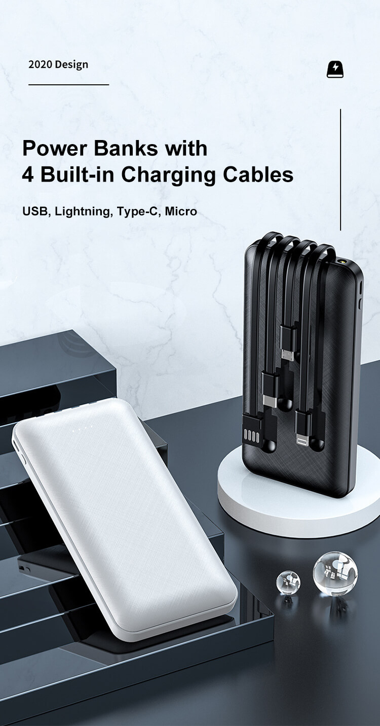 2.1A Fast Charge LED Flash Light 10000mAh Portable Mobile Power Bank Chargers with 4 Built-in Cables