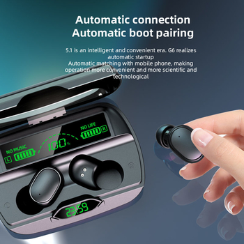 2021 New Arrivals 1200mA High Capacity Charging Case G6 Bluetooth 5.1 TWS Wireless Earbuds Earphone With LED Time Battery Display
