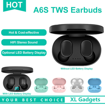 Hot Selling A6S Bluetooth 5.0 TWS Earbuds Wireless Stereo Earphone Headset Headphone for Smart Phones