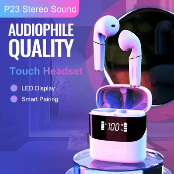 P23 Bluetooth Earphones TWS Touch Control Earbuds 8D Surround Stereo Sound with LED display and Pop-up Connection