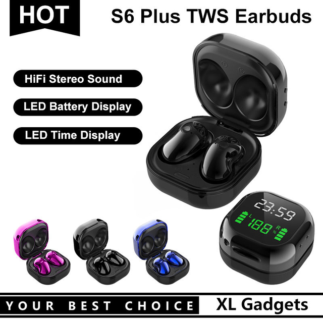 S6 Plus Bluetooth 5.0 True Wireless Stereo Earphone Headset TWS Earbuds with LED Battery Display for Samsung Galaxy Phone