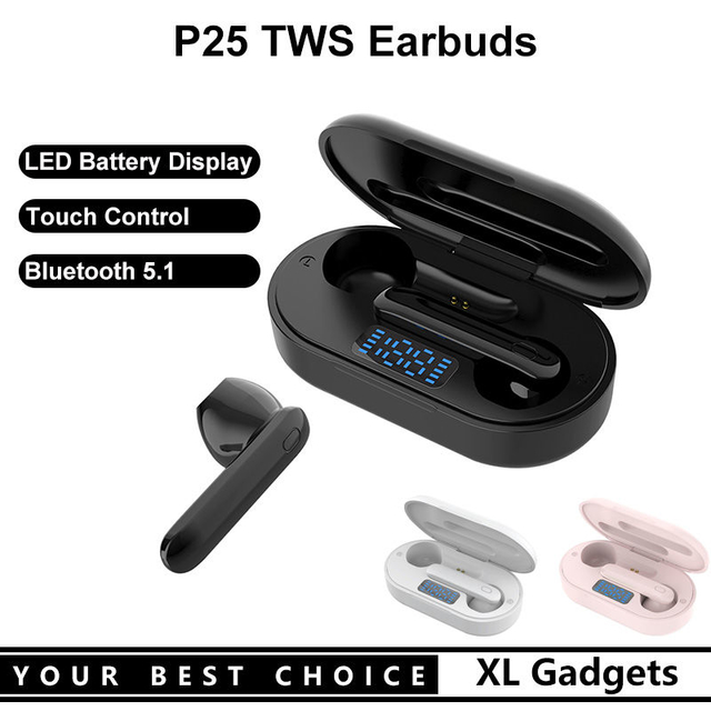 P25 Touch Control Bluetooth 5.0 TWS Earbuds True Wireless Earphone Headset with LED Battery Display