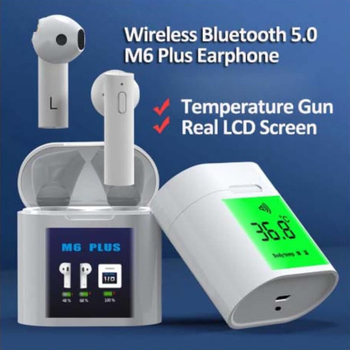 M6 Plus Wireless Earbuds Bluetooth Earphones With LED Battery Display and Temperature Measurement or Heart Rate Detection Function