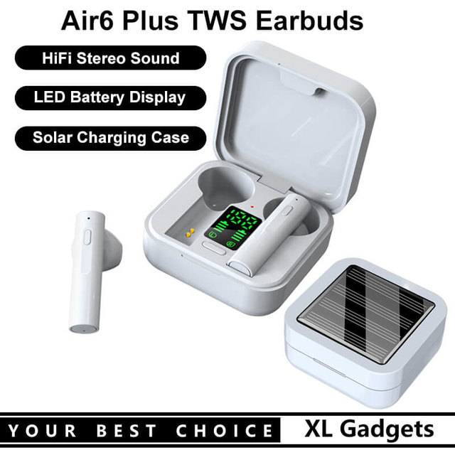 Air6 Plus BT5.0 Wireless Bluetooth Earphone Headset TWS Earbuds with LED Battery Display and Solar Charging Case