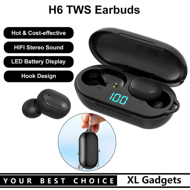 Hot Selling H6 Bluetooth 5.0 TWS Earbuds Wireless Stereo Earphone Headset Headphone With LED Battery Display and Hook Design