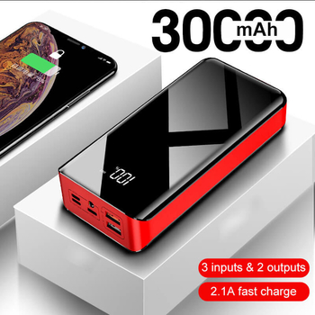 Dual USB Output 2.1A Fast Charge 30000mA High Capacity Power Banks Portable Charger with LED Flashlight