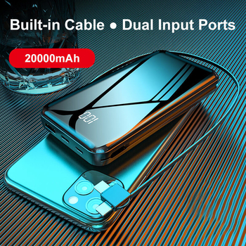 2 Input Ports One USB Output Port 2A Rapid Charge Built-in 3 in 1 Cable 20000mAh Power Banks Portable Chargers