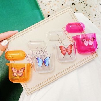Transparent/Fluorescent Orange/Fluorescent Red Glossy Finish Butterfly Patterned Airpods Protective Cases Covers