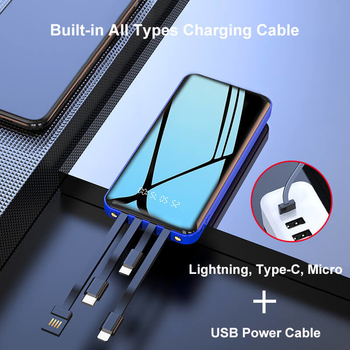 20000mAh Fast Charge Portable Charger Mobile Power Bank with 4 Built-in Charging Cables