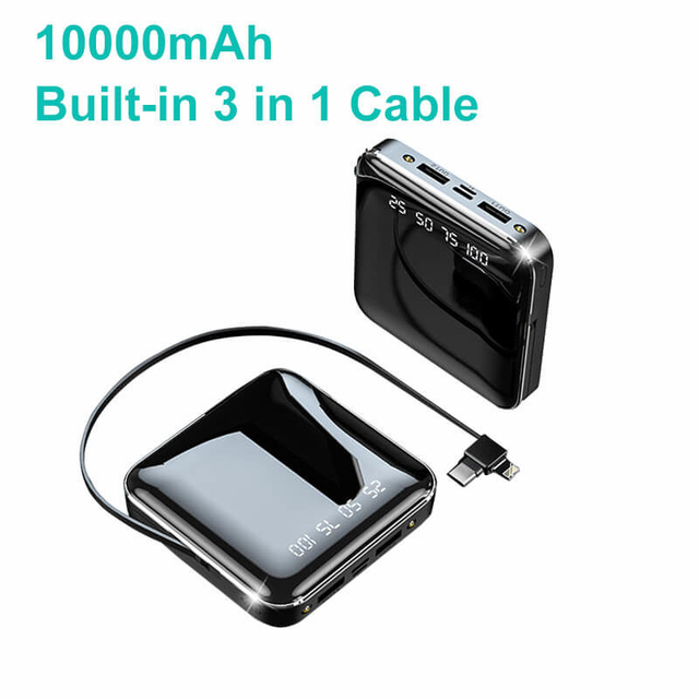 Low Price Quick Charge Portable Phone Charger 10000 mAh Square Power Bank With Built in Cable